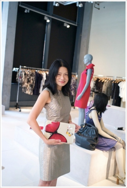 "Vivienne Tam presenting her new ""digital clutch"""