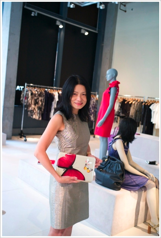 "Vivienne Tam presenting her new ""digital clutch"""